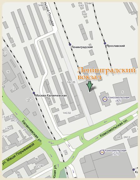 Карта проезда до Ленинградского вокзала